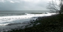 Noosa lumpy but 3-4ft- loads of waves with a dropping big spring tide. Powerful and hollow! Pulled a floater at nationals, bounced the landing and board rail slipped upwards and smashed my left elbow and ribs! Lots of ice that night:(