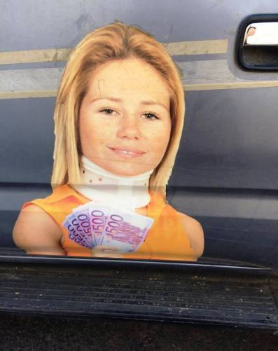 "Ad on the side of an ambulance chasers car: ""Wear a neckbrace, smile and get cashed up!"" Simples:-)"