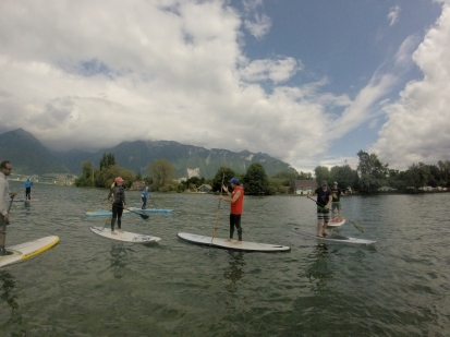 Paddling with the students